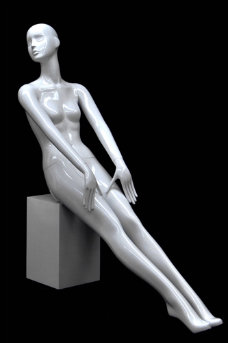 Slender Abstract Female Mannequin Glossy White Seated Pose