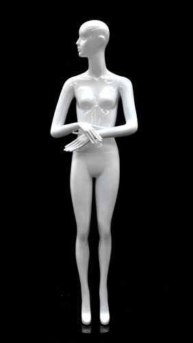 Slender Abstract Female Mannequin Glossy White Arms Crossed