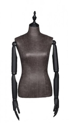 Black Leatherette Female Body Form with Posable Wood Arms