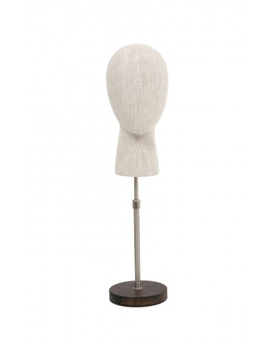 Linen Egghead Form Display with Adjustable Base