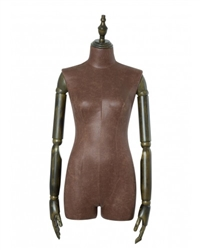 Brown Leatherette 3/4 Torso Female Body Display Form with Posable Wood Arms