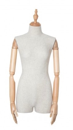 Mixed Fabric Linen 3/4 Torso Female Body Display Form with Posable Wood Arms