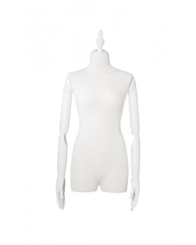 Matte White 3/4 Torso Female Body Display Form with Posable Wood Arms