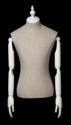 Mixed Fabric Linen Male Body Form with Wood Posable Arms