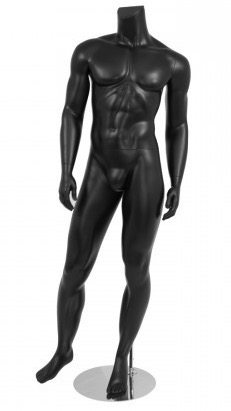 Male Mannequin Matte Black Headless Changeable Heads - Right Leg Out