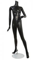 Female Mannequin Matte Black Headless Changeable Heads - Left Arm Bent