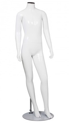 Kid Teenage Mannequin Glossy White Headless Changeable Head