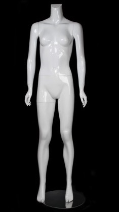 Female Mannequin Glossy White Headless Changeable Heads