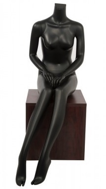 Female Seated Mannequin Matte Black Headless Changeable Heads