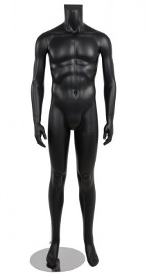 Male Mannequin Black Headless Changeable Heads