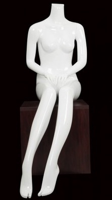 Female Seated Mannequin Glossy White Headless Changeable Heads