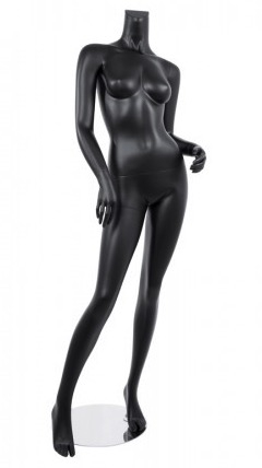 Female Mannequin Matte Black Headless Changeable Heads - Hip Out