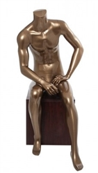 Metallic Pewter Sitting Headless Male Mannequin