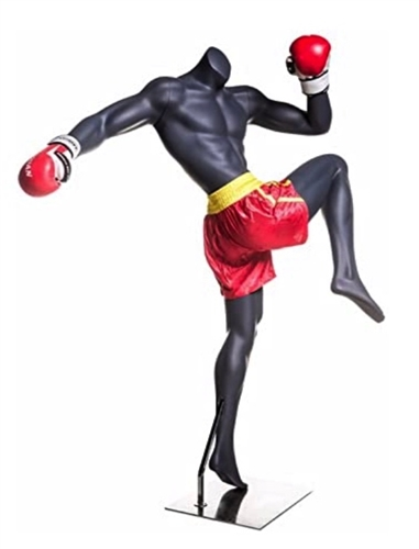 Headless Gray Male MMA Muay Thai Mannequin Kneeing Pose