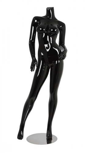 Female Brazilian Body Mannequin Glossy Black Headless Changeable Heads