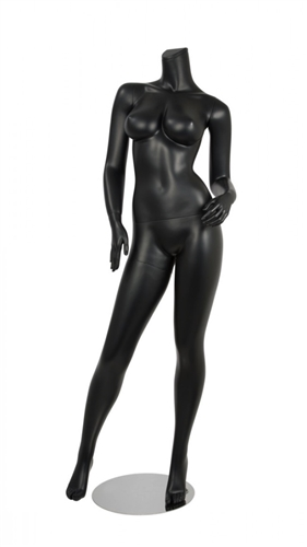 Female Brazilian Body Mannequin Matte Black Headless Changeable Heads