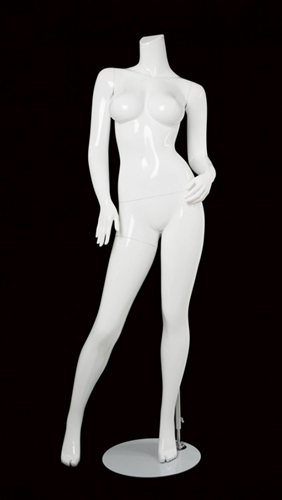 Female Brazilian Body Mannequin Matte White Headless Changeable Heads