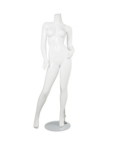 Female Brazilian Body Mannequin Glossy White Headless Changeable Heads