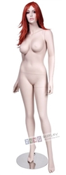 Realistic Large Bust Female Fair Skin Tone Mannequin Arms at Sides