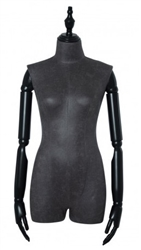 Black Leatherette 3/4 Torso Female Body Display Form with Posable Wood Arms