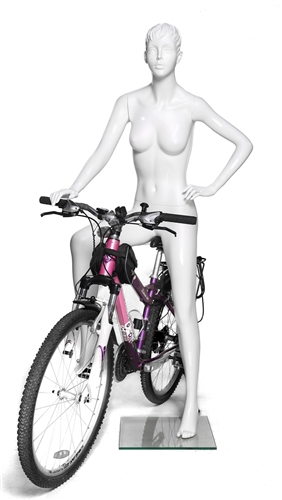Female Cyclist Bike Riding Mannequin - Glossy White