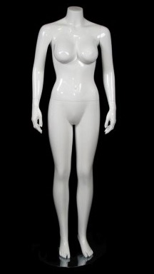 Matte White Headless Brazilian Body Mannequin Hands By Side