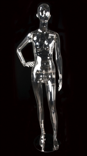 Clear Translucent Female Abstract Mannequin Right Hand on Hip