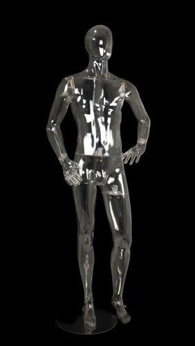 Clear Translucent Male Egghead Mannequin Left Hand on Hip
