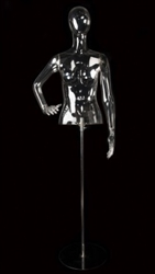 Clear Egghead Female Half Torso Form Mannequin Left Hand on Hip