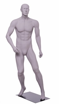 Matte Grey Male Mannequin with Athletic Build.  This mannequin has his arms at his sides in a strong, athletic pose.  Made of fiberglass.