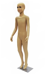 5-6 year old child in standing pose. Unisex child mannequin with realistic facial features. Its head can swivel and is detachable if you prefer a headless mannequin for your display.