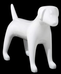 Glossy White Abstract Medium Puppy Dog Mannequin