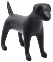Matte Black Abstract Medium Puppy Dog Mannequin