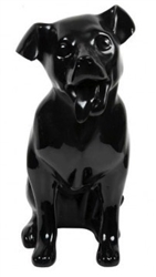 Glossy Black Happy Tongue Out Dog Mannequin