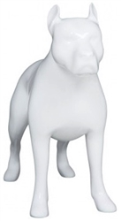 Glossy White Abstract Pit Bull Dog Mannequin