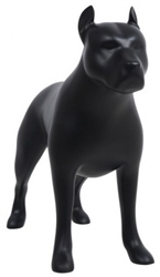 Matte Black Abstract Pit Bull Dog Mannequin