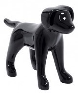 Glossy Black Abstract Small Puppy Dog Mannequin