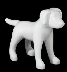 Glossy White Abstract Small Puppy Dog Mannequin