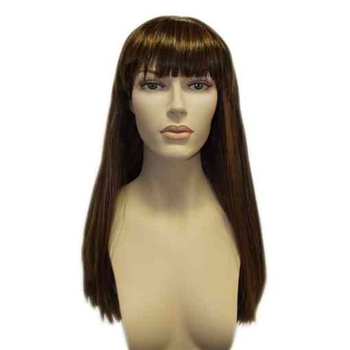 Brown wig for female mannequin.  Long hair with bangs.  Shop all of our mannequin wigs at www.zingdisplay.com