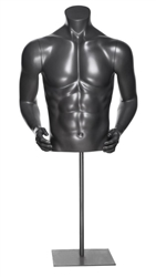 Glossy Grey Headless Male Athletic Torso Form with Arms