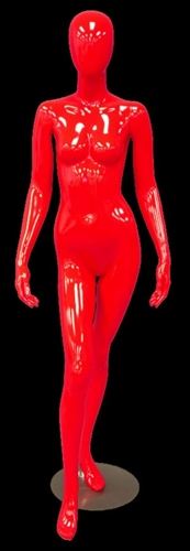 Abstract Egghead Female Mannequin in Glossy Red