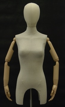 Female Torso Form with Wooden Neck Block and Base. Pinable for all of your sewing needs.