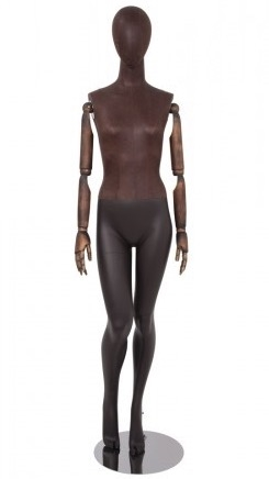Brown Leather-Like Mixed Fabric Mannequin Bendable Arms Leg Bent In