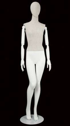 Linen Mixed Fabric Female Mannequin Bendable Arms Leg Bent In