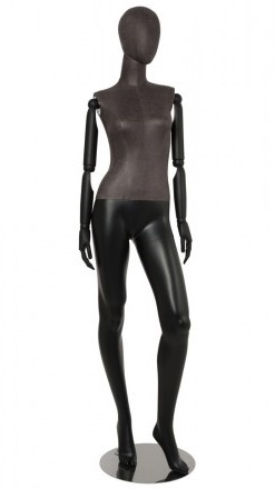 Distressed Leather-Like Mixed Fabric Mannequin Bendable Arms Leg Out