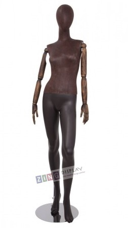 Brown Leather-Like Mixed Fabric Mannequin Bendable Arms Leg Out