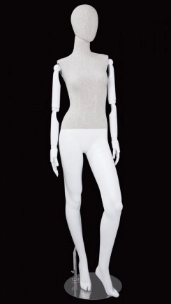 Linen Mixed Fabric Female Mannequin Bendable Arms Left Leg Out
