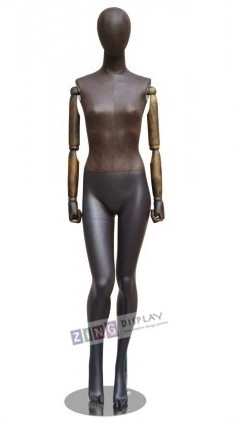 Brown Leather-Like Mixed Fabric Mannequin Bendable Arms Leg Bent