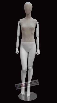 Linen Mixed Fabric Female Mannequin Bendable Arms Right Leg Bent