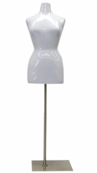 Glossy White Female Torso Dress Form Plus Size 14/16